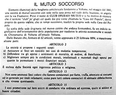 Statuto Società di Mutuo Soccorso di Voltana 1881